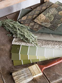 Earthy green interior decoration plan — Stock Photo