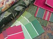 绿色与红色的室内设计计划 — 图库照片