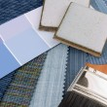 Meduim blue interior decoration plan — Stock Photo