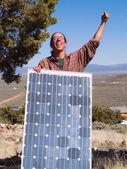 Happy solar panel owner — Stock Photo