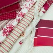 Stock Photo: Red & white fabric and paint swatches