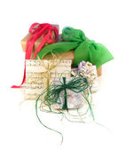 Recycled paper gift wraps — Stock Photo