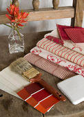 Red and white interior decoration plan — Stock Photo
