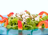 Salad with feta cheese and olives — Stock Photo