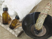 Smudge stick with essential oils — Stock Photo
