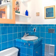 Turquoise tile work in a bathroom — Stock Photo