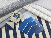 Blue and white interior design — 图库照片