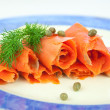 Smoked salmon, lox — Stock Photo