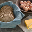 Bread, cheese and eggs — Stock Photo