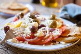 Salada de tomate, queijo feta & olive — Fotografia Stock