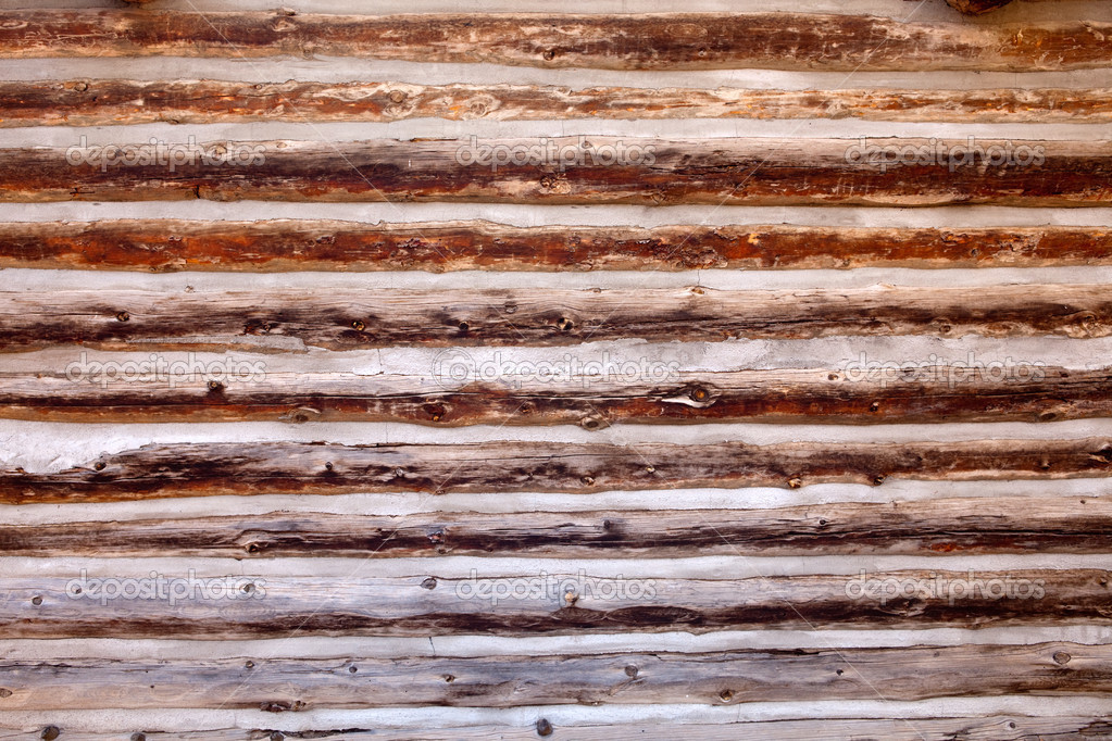 Old Log Cabin Wood Wall Background Stock Photo