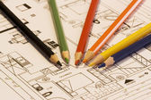 Home plans with colorful pencil — Stock Photo