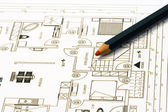 Home plans with pencil — Stock Photo
