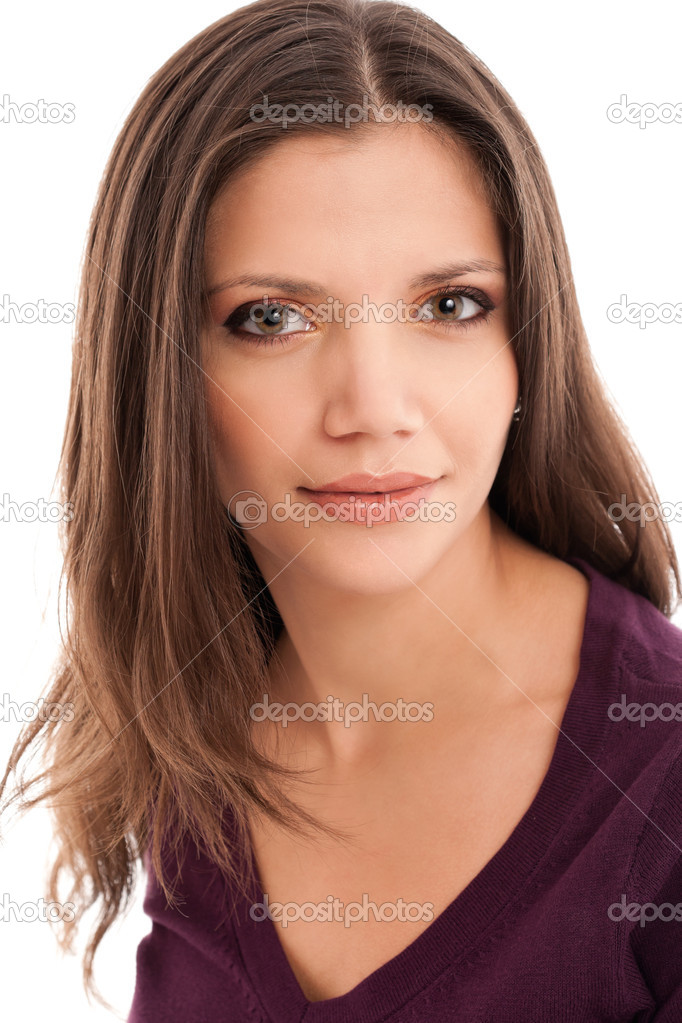 Portrait of a beautiful young woman smiling, isolated on a white background — Stock Photo #7811351