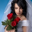 Brunette bride with red roses - Stock Photo