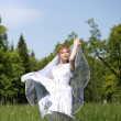 Bride, which is in the field — Stockfoto