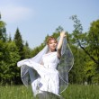 Bride, which is in the field — Stock Photo