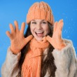 Beautiful brunette girl in orange cap — Stok Fotoğraf #7488493