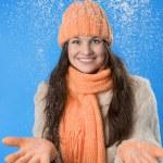 Beautiful brunette girl in the orange cap — Stock Photo #7488499