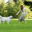 Stock Photo: Girl with the golden retriever in the park