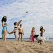 sur la plage, jouer au volleyball — Photo
