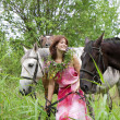 Brunette girl with horse — Foto Stock #7488993