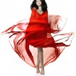 Girl in a red luxury — Stock Photo
