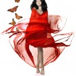 Girl in a red luxury - Stock Photo