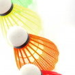Colorful shuttlecocks for badminton - Stock Photo