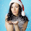 Girl santa, with snow — Stock Photo