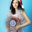 Santa, with a clock — Foto Stock