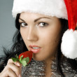 Royalty-Free Stock Photo: Santa girl with strawberries