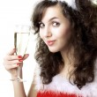 Stock Photo: Santgirl with glass of champagne
