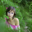 Girl in the green park - Stock Photo