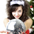 Santa girl disco ball in the hands — Foto de Stock