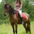 Brunette girl with horse — Stock Photo