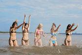 Girls in the sea — Stock Photo