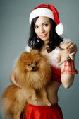 Santa girl and dog — 图库照片
