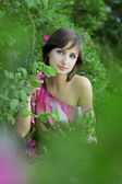 Girl in the green park — Stock Photo