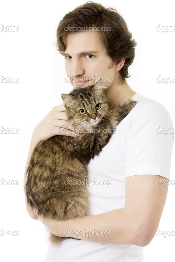 Picture of a young man who keeps on hand fluffy cat — Stock Photo #7488879