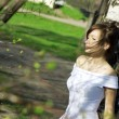 Bride and blossoming spring plants — ストック写真 #7532564