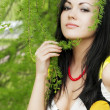 Girl and blossoming spring plants — Stock Photo #7532571