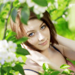 Girl on a background of flowering flowers — Foto de Stock