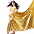 Beautiful cute pregnant girl in gold — Stock Photo #7532784