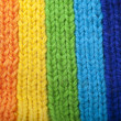 Bright rainbow knitted scarf — Photo