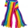 Bright rainbow knitted scarf — 图库照片