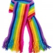 Bright rainbow knitted scarf — ストック写真