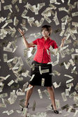Girl who has a lot of money — Stock Photo