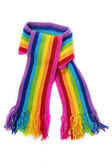 Bright rainbow knitted scarf — Stock Photo