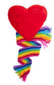 Rainbow scarf and red heartv — Stock Photo